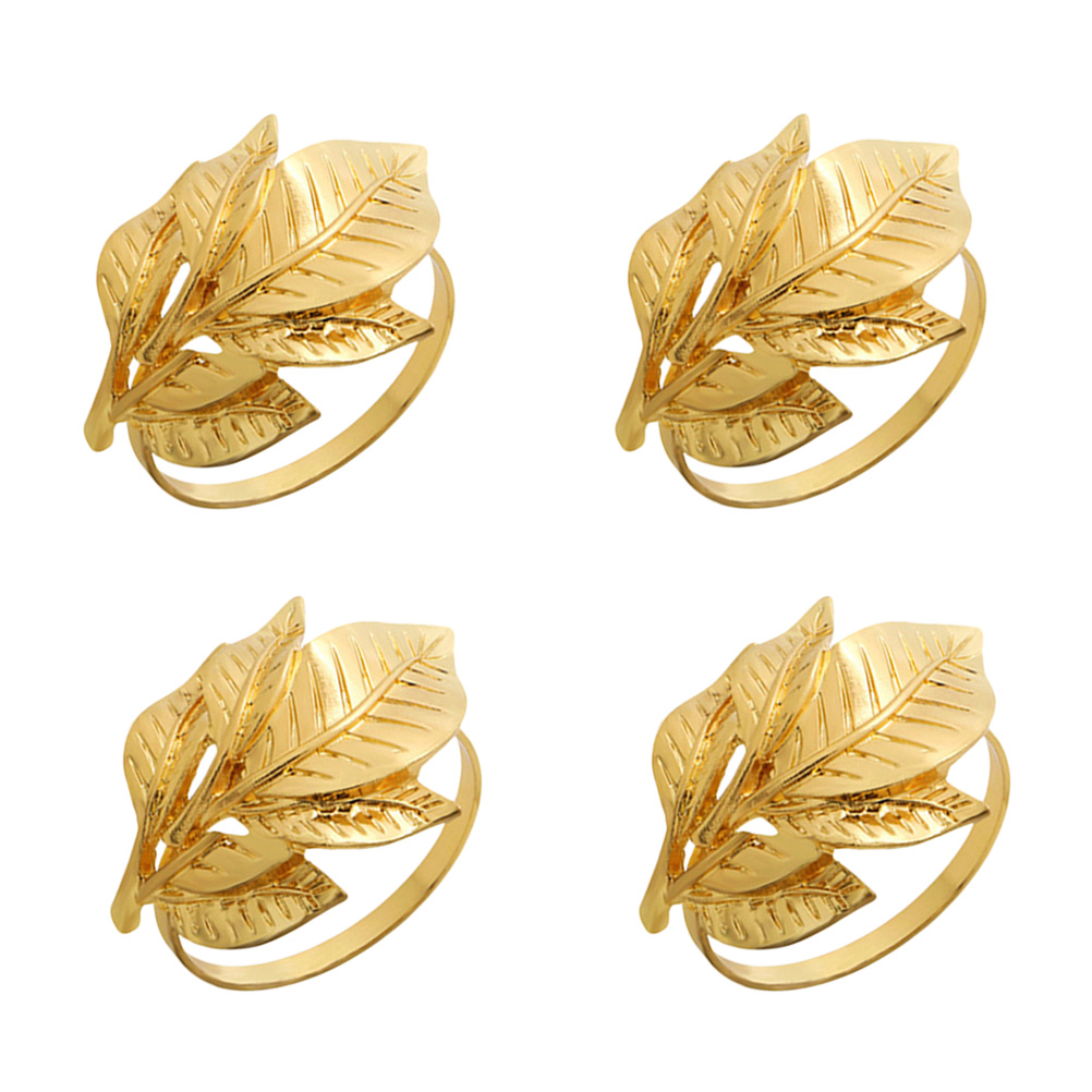 4pcs Alloy Leaf Napkin Rings Decorative Napkin Holders Serviette Buckles For Wedding Banquet Dinner Party