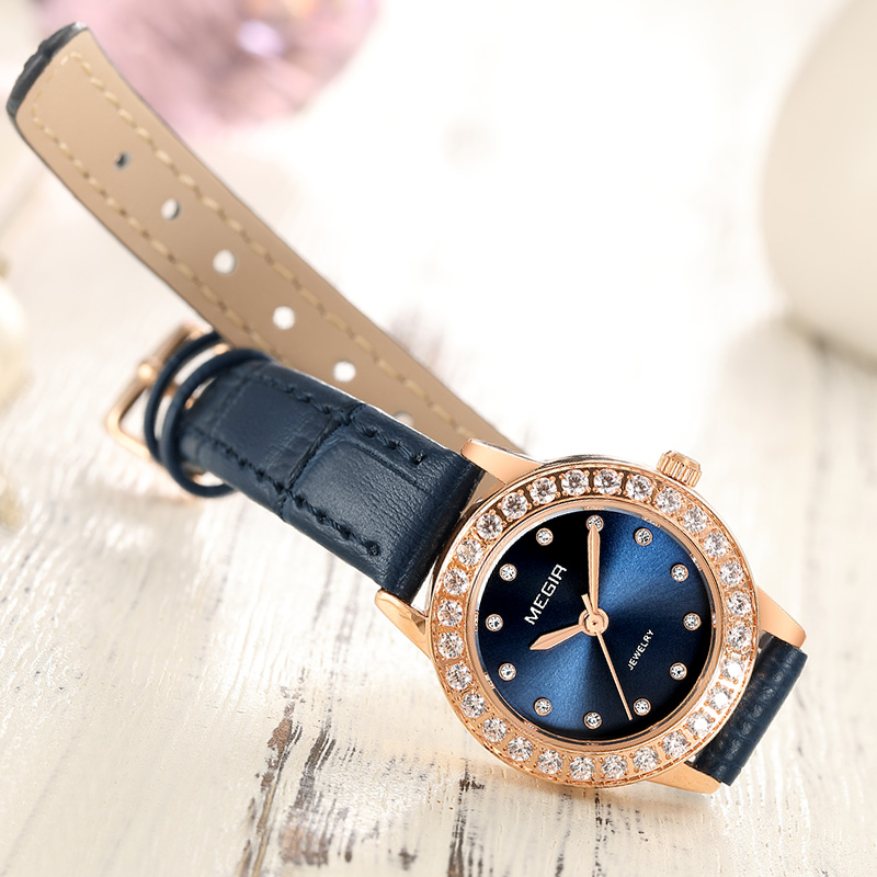 4fae7f52bfd8 Women Luxury Watch Reloj Mujer 2018 MEGIR Twinkly Small Women Watches Rose  Gold Free Shipping Damen