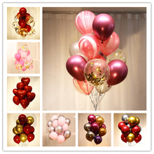 15pcs/set Colorful Macaroon Sequins Balloon  Children Party Christmas party Decorations Air Wedding Ballon Confetti Baloons