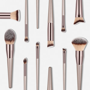 Image 3 - Kit de pinceaux de maquillage de luxe, couleur Champagne, pour poudre de fond de teint, fard à paupières, correcteur, lèvres et yeux, brosses pour produits cosmétiques, accessoires de beauté