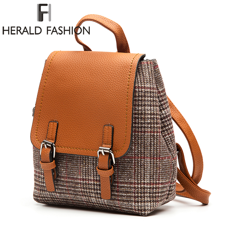 Herald Fashion Women Woolen Backpacks Quality School Bgas For Teenage Girls Female Shoulder Bag Lady Traveling Backpacks Mochila