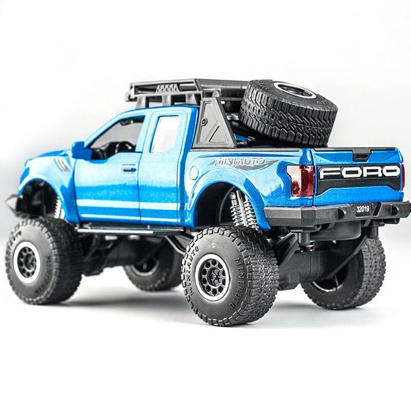 Mini camionnette Toy1: 32 pick-up modèle voiture jouet pour Ford F150 Raptor son et lumière et voiture coulissante