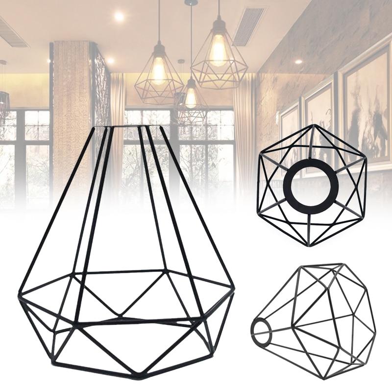 2Pcs Retro Wire Diamond Pendant Ceiling Living Light Cage Lamp Shade Silver