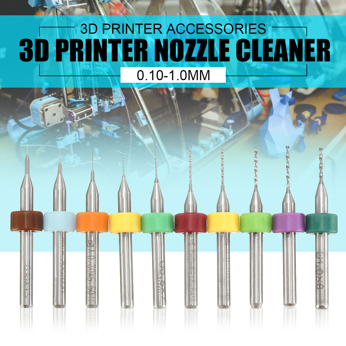 GEEETECH 10pcs/Set 0.1-1.0mm Solid Carbide PCB Drill Bit Nozzle Cleaning Cleaner for Extruder RepRap 3D Printer Accessories