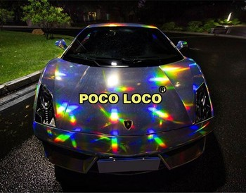 Silver Rainbow Shimmer Laser Holographic Chrome Silver Automotive Colorful Gloss Car Vinyl Wrap Decal Film Vehicle Sticker Phone image