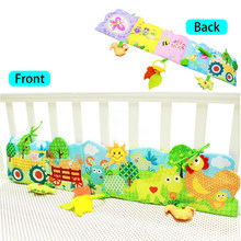 3 Colors Crib Bumper Panel & Cloth Book With With teether and rattle baby safe mirror Educationl Toys For Baby Care(China)