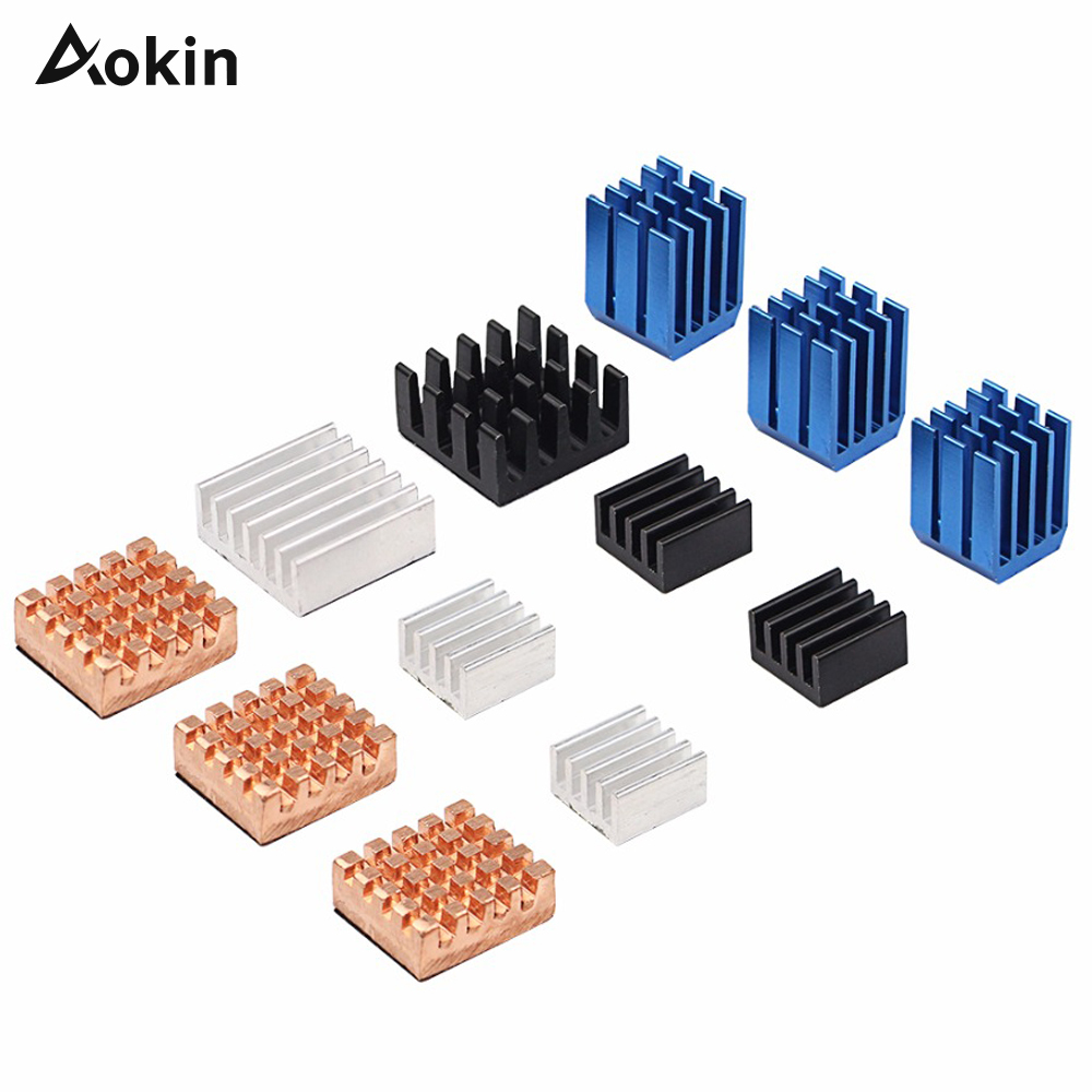 Aokin 12 Pcs Raspberry Pi 3 Heat Sink Copper Aluminum Heatsink Radiator Cooler Kit For Raspberry Pi 3B+ Plus 2