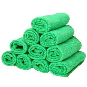 Image 1 - Mayitr 1Set 10X verde microfibra pulizia Auto dettagli Auto morbidi panni in microfibra asciugamano spolverino pulizia domestica 25*25CM