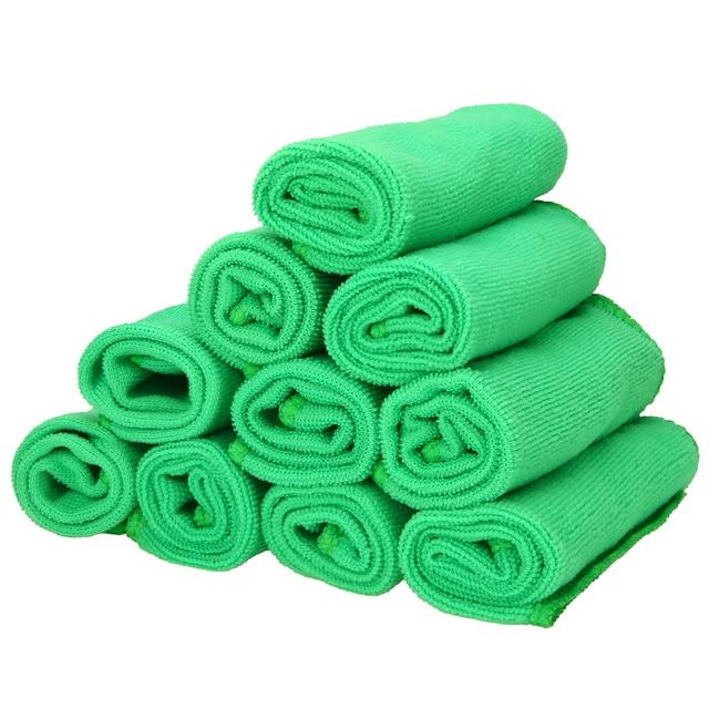 Mayitr 1Set 10X verde microfibra pulizia Auto dettagli Auto morbidi panni in microfibra asciugamano spolverino pulizia domestica 25*25CM