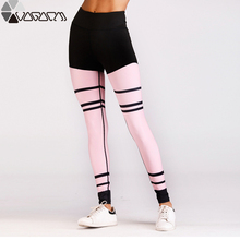 2019 New Women Fashion Yoga Pants Stripes Print Sexy Slim Fit Elastic Fitness Yoging Gyms Pink Leggings For Woman Size S-XL