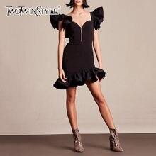 a5eb8fafd69 Deuxtwinstyle robes noires femme à volants manches taille haute robe sirène  femme élégante mode moulante 2019