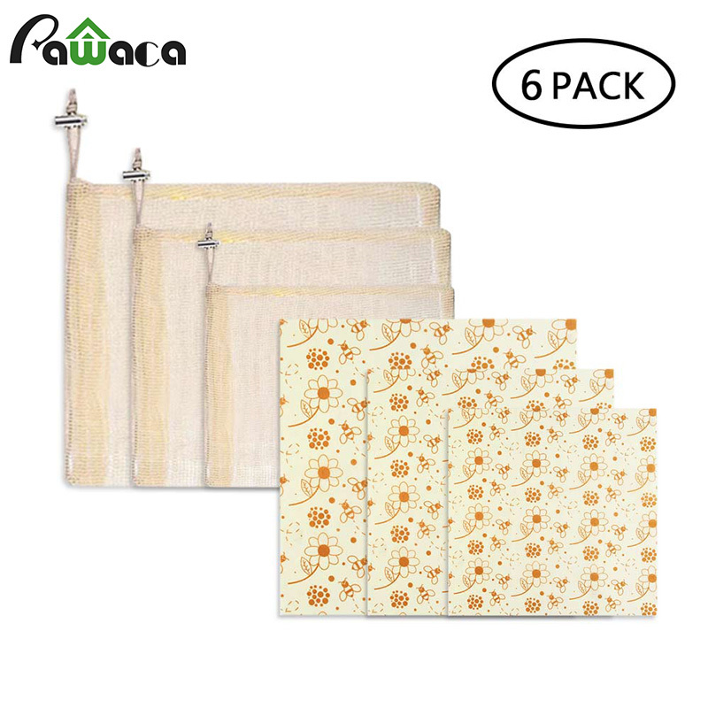 6pcs/set Reusable Beeswax Food Wrap Seal Food Fresh Keeping Wrap Lid Cover Stretch Washable Mesh Produce Bags With Drawstrings6pcs/set Reusable Beeswax Food Wrap Seal Food Fresh Keeping Wrap Lid Cover Stretch Washable Mesh Produce Bags With Drawstrings