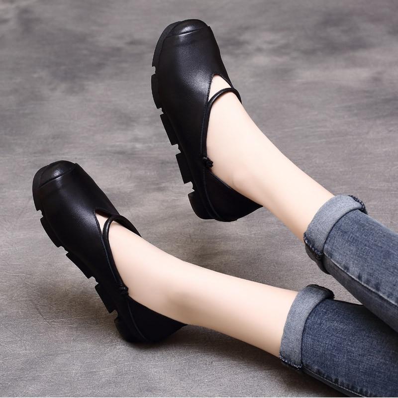 Femmes Printemps Paresseux 2019 Dames De chocolat Femme Slipona Noir Ret En Véritable D'été Espadrilles Cuir Chaussures Ballet Mocassins rr7CqO