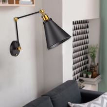 Adjustable Ambient Lighting Cover Vintage Industrial Lamp Shade Warehouse Wall Lamp Cover Loft Swing Arm Light Shade lampshade iwhd style loft industrial wall lamp vintage adjustable swing long arm wall light fixtures glass ball lampshade
