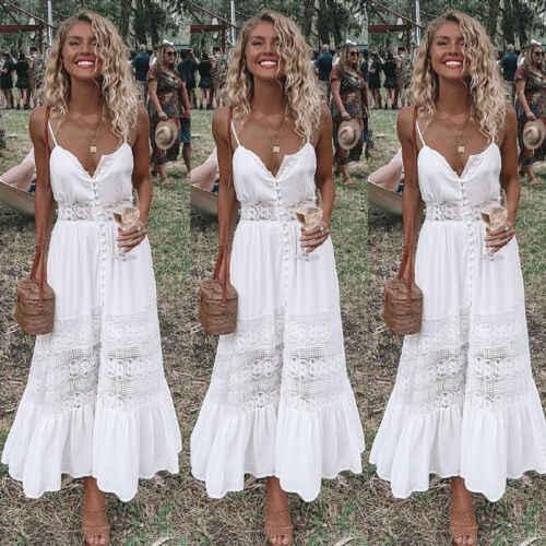 2019 chaud femmes dos nu blanc doux Split vacances Maxi Boho Floral été plage longue robe de soirée robe tenue décontractée