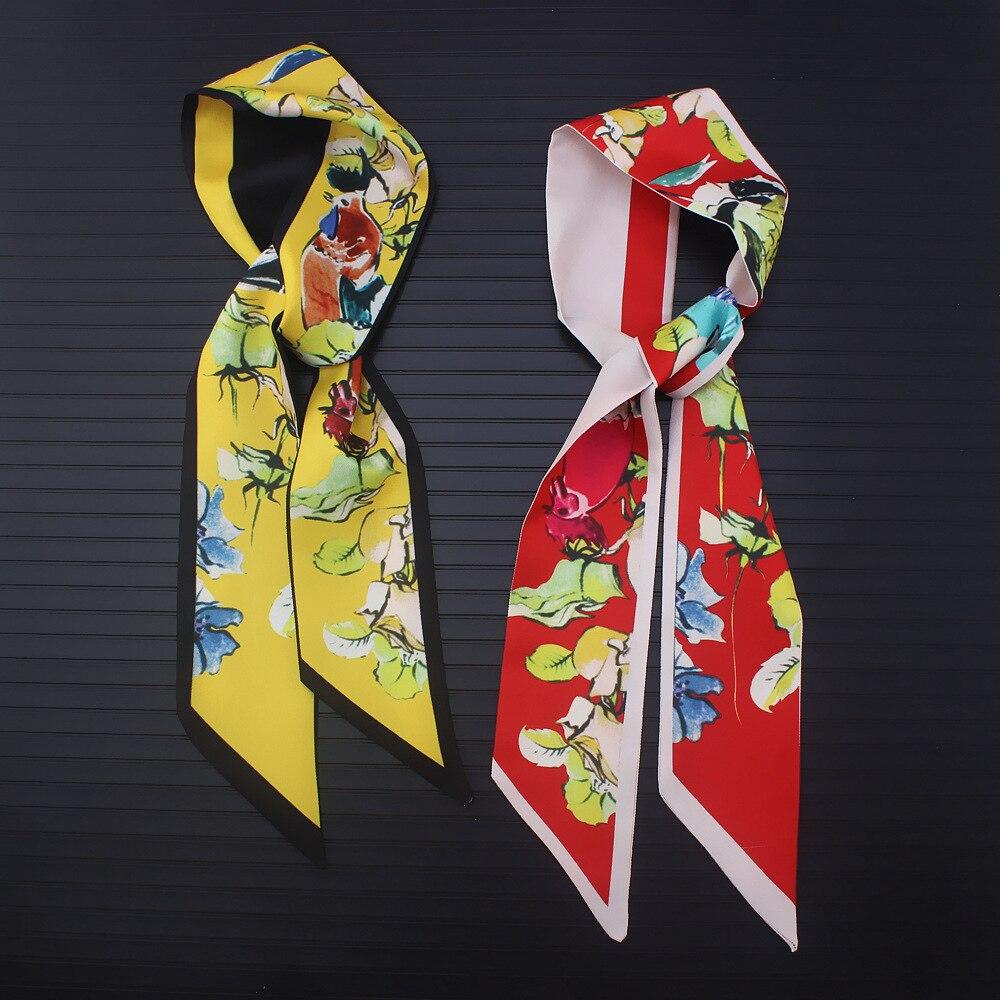Abstrakte Handgemalte Blume Und Vogel Drucke Dünne Schal 2019 Neue Marke Silk Schal Für Frauen Mode Tasche Kopf Schal Für Damen