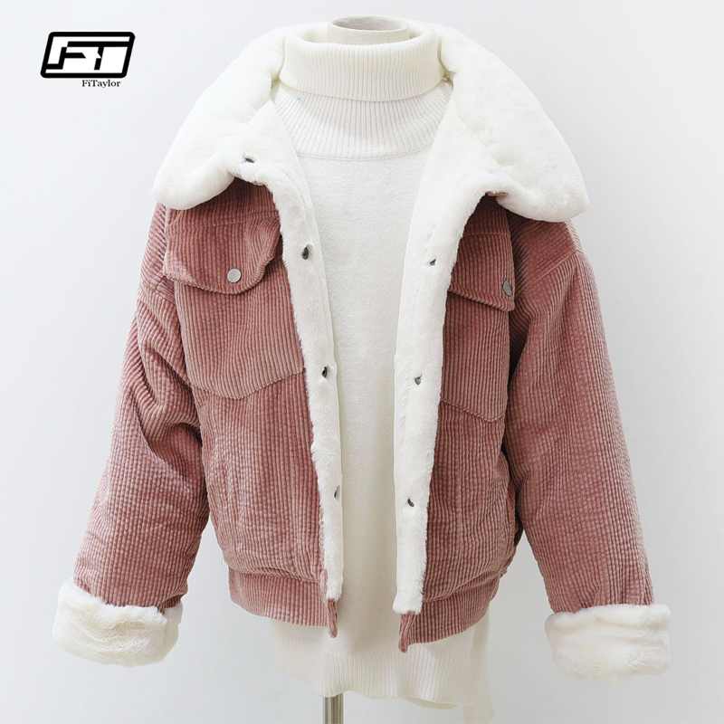 Fitaylor Woman Loose Corduroy Jacket Women New Thick Winter Lambswool Jackets Ladies Cute Outerwear Coat Warm