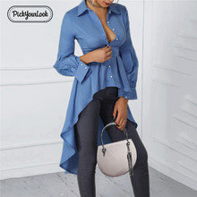 Pickyourlook Office Women Blouses And Shirt Long Sleeve Work Business Female Tops Shirt Lady Dip Hem Button Elegant Chemise button front dip hem blouse