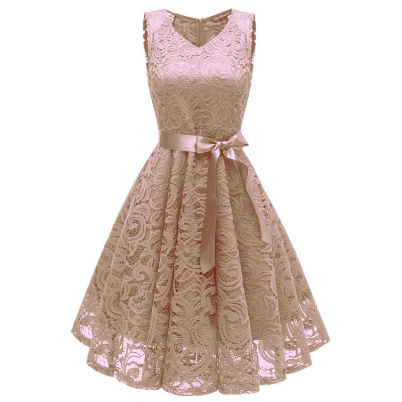 Womens Elegant Lace Embroidery Stitching Casual Dress Sleeveless Loose Womens Skirt Clothing Ladies Designing Dresses 5 Color