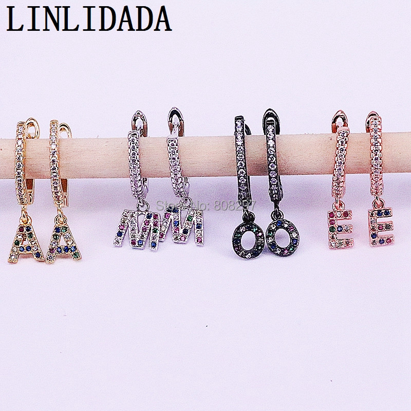 2019 New Arrival 10Pair Metal Letter 26 Alphabet Dangle Earring Fashion Jewelry High Quality Cz Letter