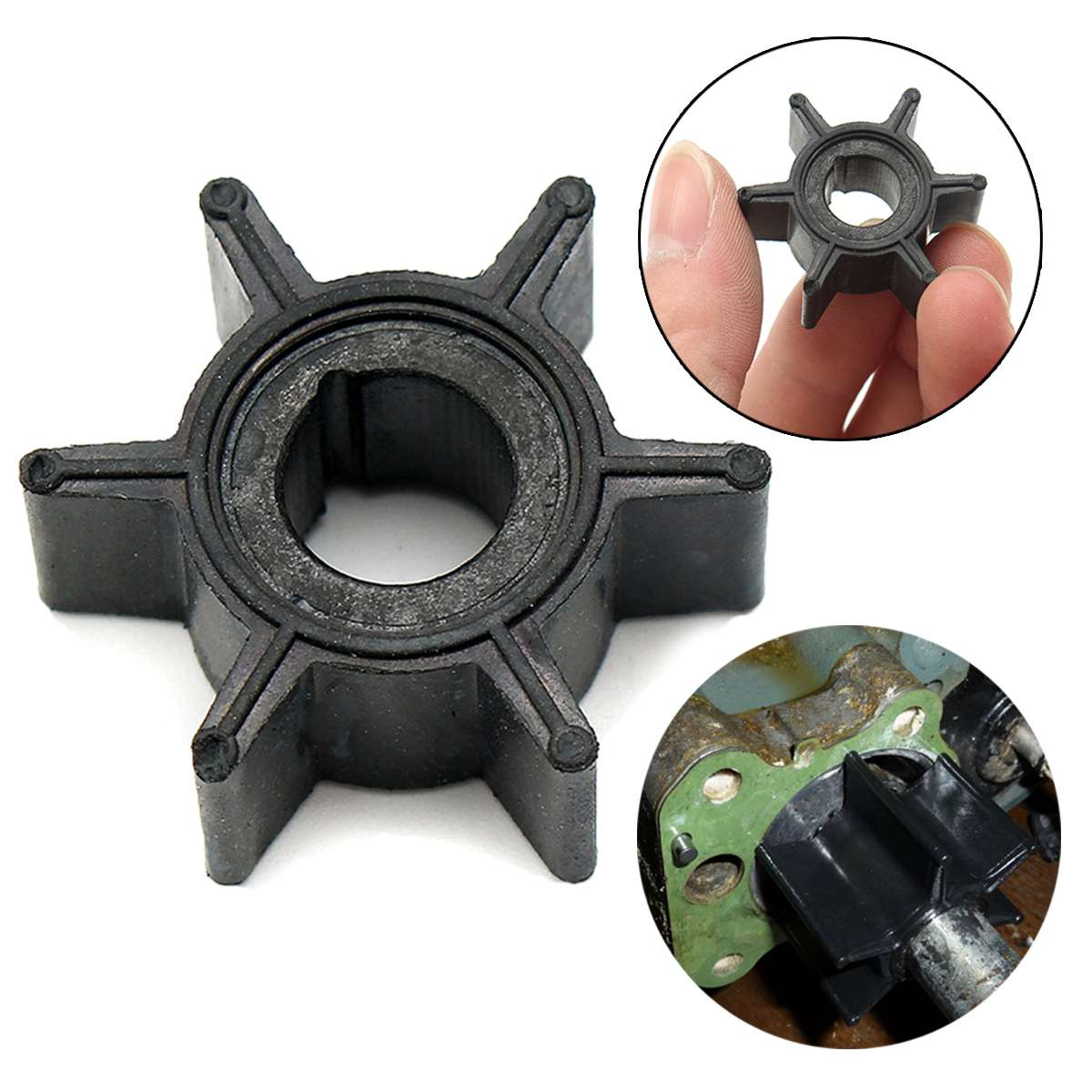47-16154-3 Water Pump Impeller For Tohatsu/Mercury/Sierra 2/2.5/3.5/4/5/6HP Outboard Motor Rubber Diameter 3.4cm 6 Blades Black