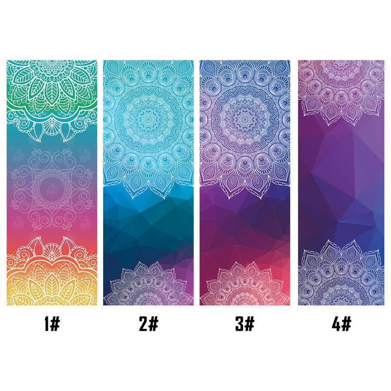 Travel Yoga Mat Or Towel: 183*65cm Mandola Print Yoga Blanket Towel Diamond Texture