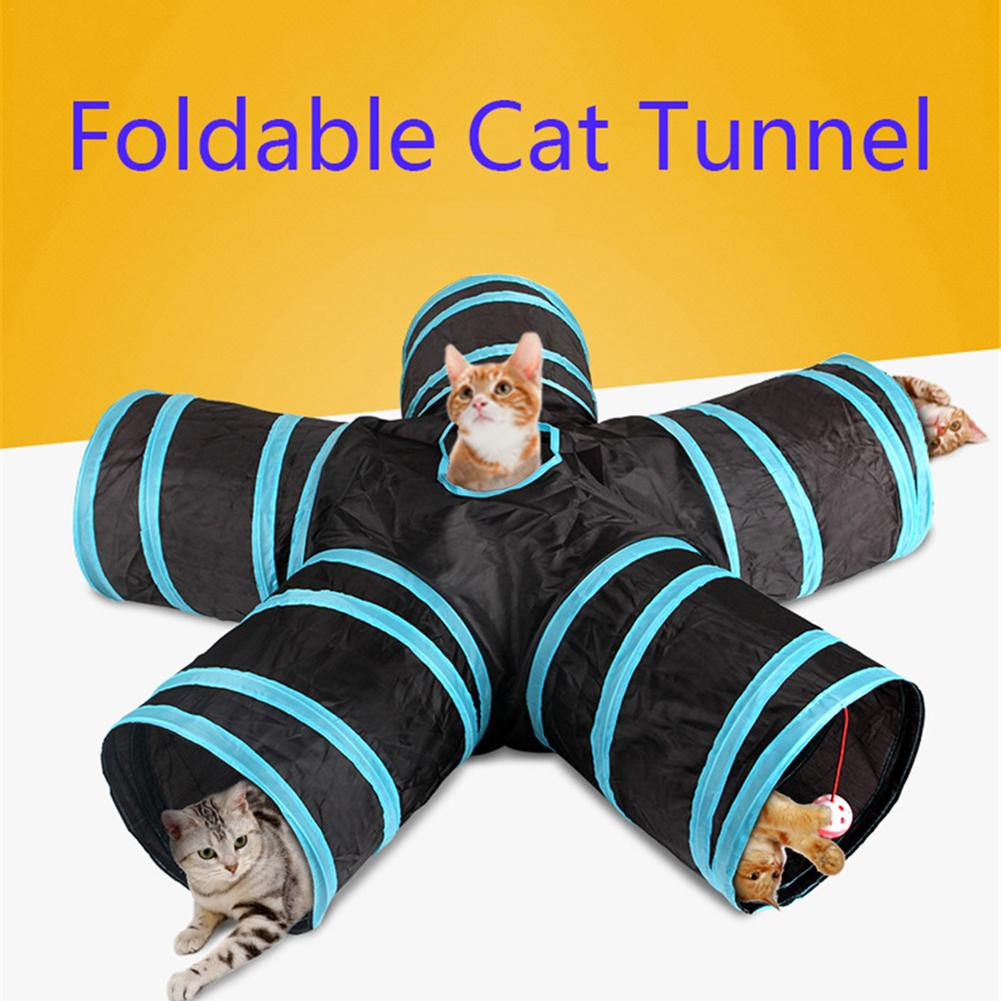 Hot 2/3/4/5 Holes 14 Colors Foldable Pet Cat Tunnel Indoor Outdoor Pet Cat Training Toy For Cat Rabbit Animal Play Tunnel Tube