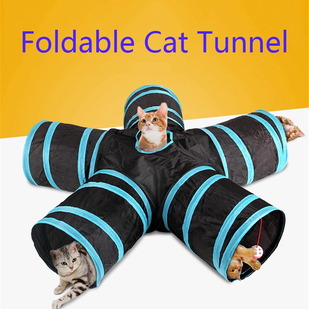 Chaud 2/3/4/5 trous 14 couleurs pliable Pet chat Tunnel intérieur extérieur Pet chat formation jouet pour chat lapin Animal jouer Tunnel Tube