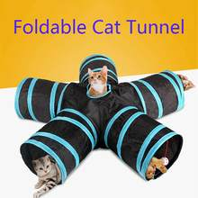 Hot 2/3/4/5 Fori 14 Colori Pieghevole Pet Cat Tunnel Indoor Outdoor Pet Addestramento del Gatto giocattolo per il Gatto Coniglio Animale Gioco Tunnel Tubo(China)