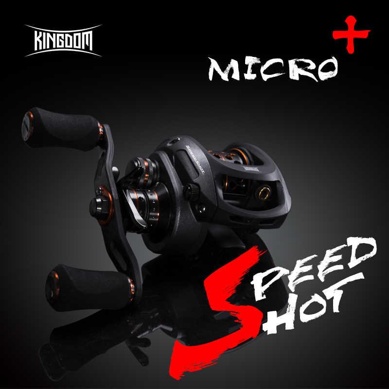 المملكة سرعة النار مايكرو 2019 جديد مزدوج بكرة 6.5: 1 عالية السرعة Baitcasting بكرة خفيفة 12 + 1 الكرات الصيد بكرات