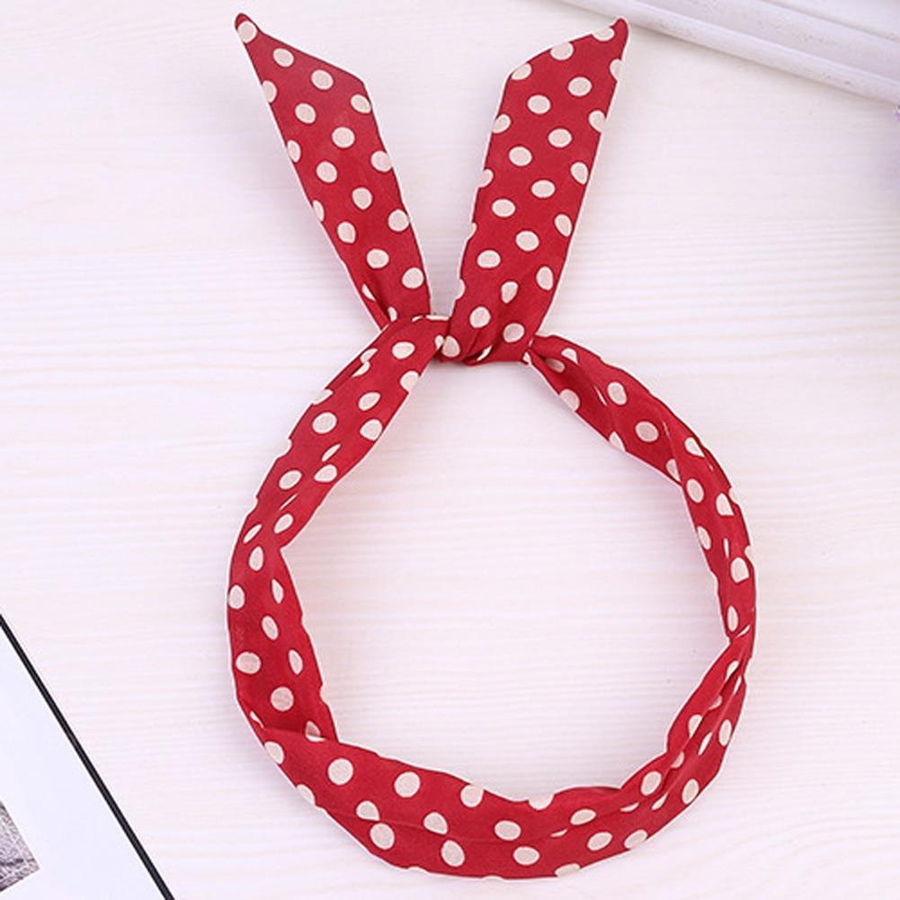 1Pc Koreanischen Nette Süße Polka Dot Bogen Kaninchen Bunny Ohr Stirnbänder Draht Elastische Haar Bands Für Frauen Mädchen Haar bänder Haar Wrap