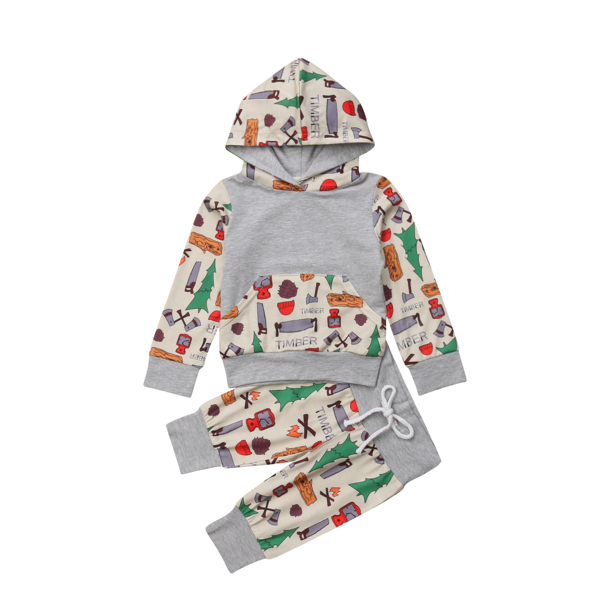 Xmas 2pcs Newborn Kid Baby Boy Girl Clothes Casual Hooded Tops+Long Pants Outfit Set