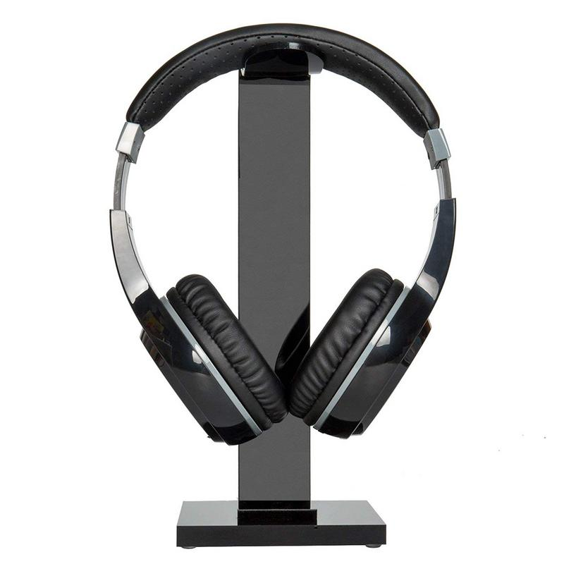 Black Headset Stand Portable Universal Compatibility Game Earphone Holder Plastic Square Bottom Stable Durable Display