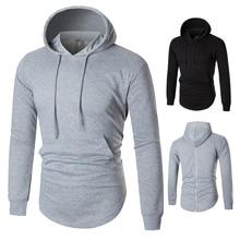 European Code Autumn Man Solid Color Long Fund Even Midnight hoodie men hooded zipper sweatshirts