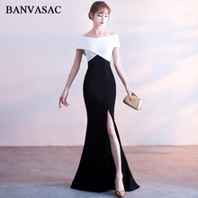 BANVASAC Elegant Boat Neck Multicolor Short Sleeve Mermaid Long Evening Dresses Party Sexy Split Backless Prom Gowns