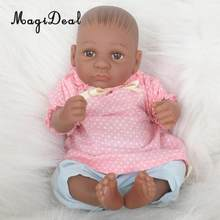 Real Life 11inch Reborn Baby Girl Doll African American Doll in Pink Shirt Blue Pants Clothes Kids Bath Play/Sleeping Toy Gift(China)