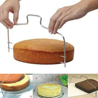 New DIY Cake Slicer Double Line Adjustable Stainless Steel Metal Cake Cut Device Decorating Mold Bakeware Kitchen Cooking Tool Pastry Cutters     -