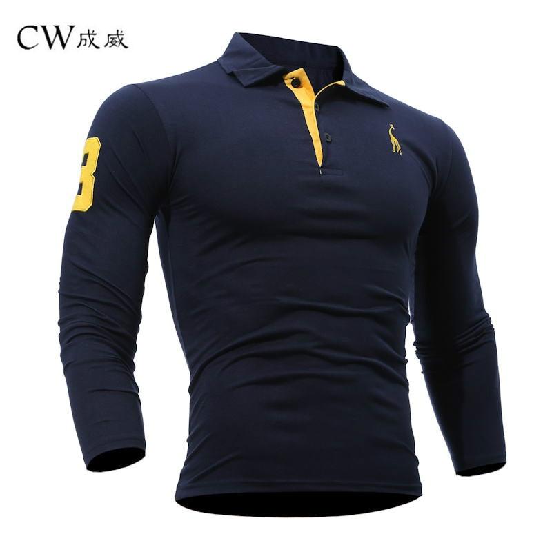 CW 2019 Summer Mens   Polo   Shirt Long sleeves Deer Embroidery Printing Men Slim Casual Cozy Tees M-3XL Fashion Top Clothing