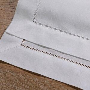 "Image 4 - N002 18: 120 ชิ้นสีขาว Hemstitch ผ้าเช็ดปาก ผ้าลินิน 55/45 Cotton Blend 18 ""x 18"" Ladder Hemstitch ผ้าเช็ดปาก"