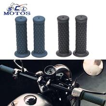 Sclmotos-empuñaduras Retro de goma de 22mm para motocicleta, manillar Vintage, manillar Cafe Racer para Harley para Kawasaki KTM Race
