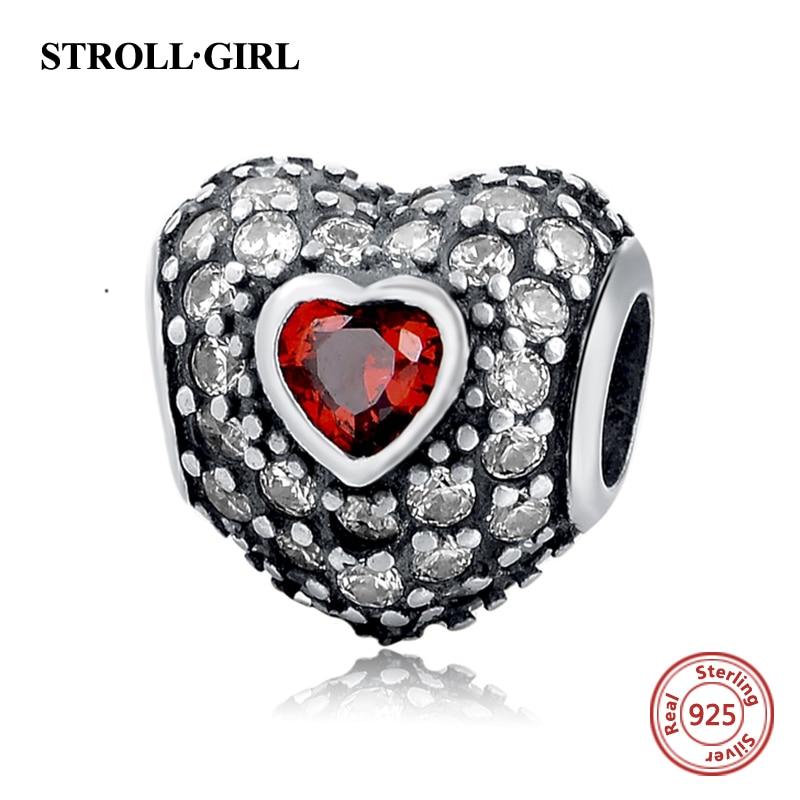 Fit Authentic Pandora Charms perak 925 Asli Antik Cinta Hati Zircon - Perhiasan fashion - Foto 5