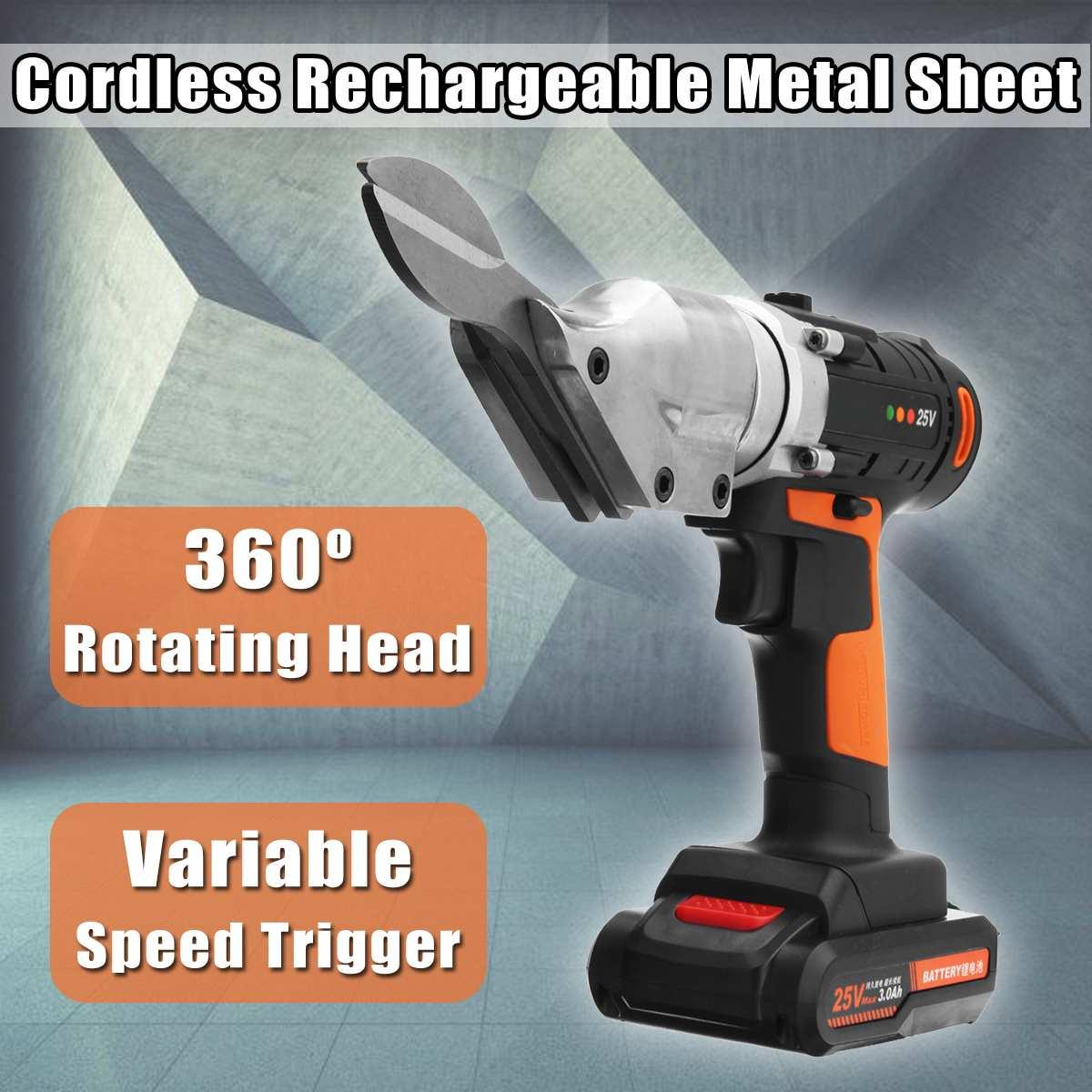 Electric Scissor 25V Li ion Cordless Metal Sheet Shear Cutter Scissors Rechargeable 2 Battery Rotating Head Power Tool
