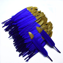 New royal blue decoration Spray gold Duck feathers 20pcs/lot 10-15CM DIY crafts wedding accessories plumes