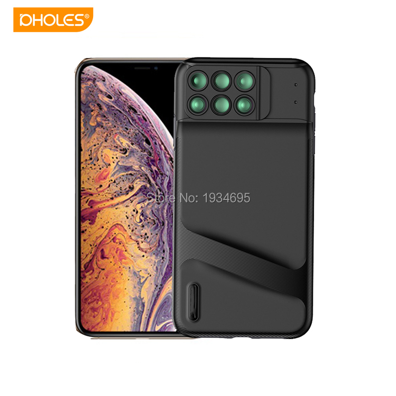 For iPhone XS Max Mobile Phone Lens 6 in 1 Wide Angle Macro Fisheye Lens Camera Lens For iPhone X XS XR XS Max Black