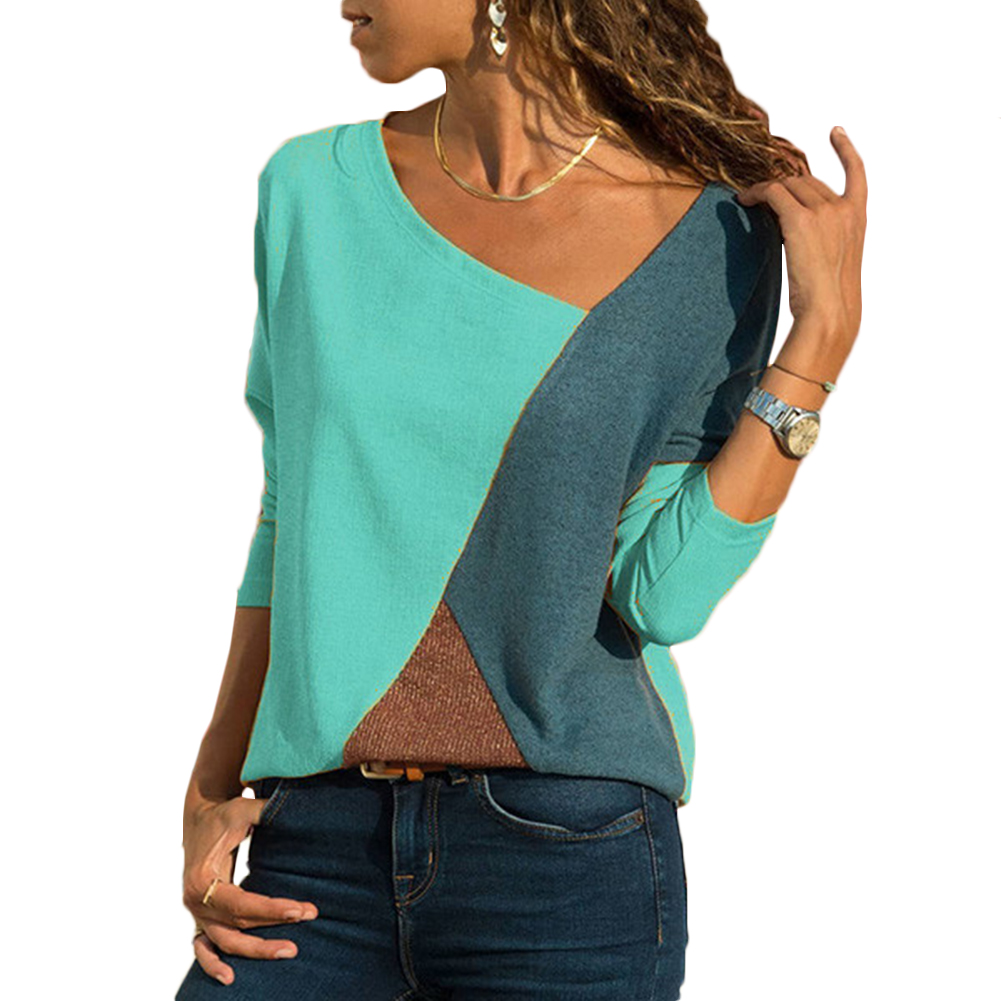 2018 Long Sleeve Shirts Women Casual Loose Tops Tee Shirt Femme Patchwork Sexy V-Neck Female Shirts Office Blusas Mujer