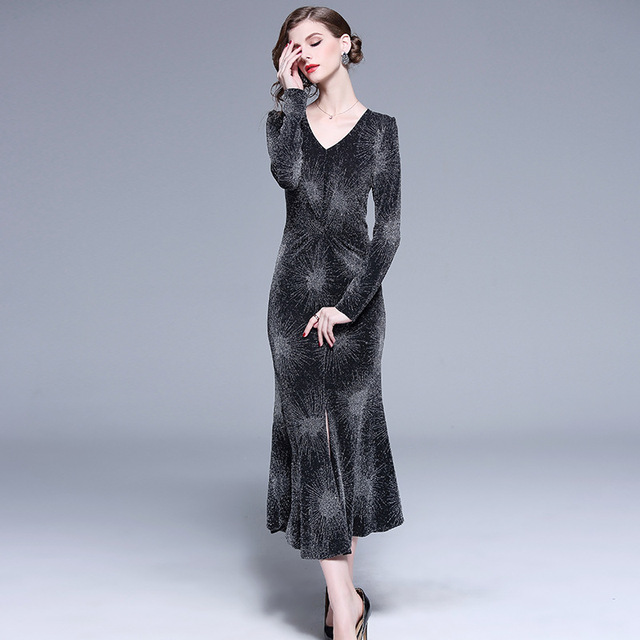 639f000313f 2018 Autumn New Pattern Europe Will Code Self-cultivation Thin Western  Style Gold And Silver Line In The Waist Fish Tail Dress