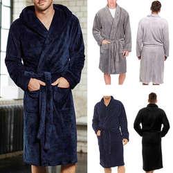 2019 модная мужская зимняя теплая удлиненная плюшевая накидка, халат, домашняя одежда для сна, свободный флисовый халат с длинными рукавами