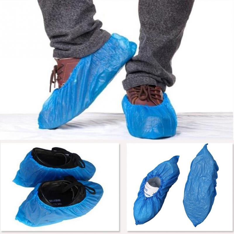 100pcs/lot Rainy Day Shoes Accessories Disposable Plastic Thick Outdoor Rainy Day Carpet Cleaning Shoe Cover Blue