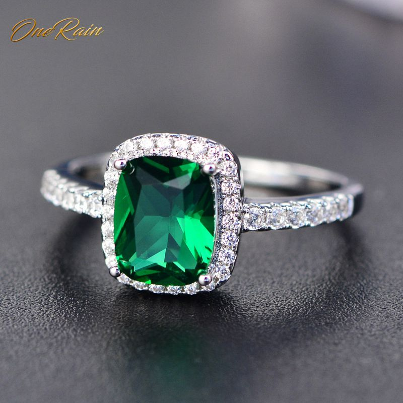 OneRain Classic 100% 925 Sterling Silver 7 * 9MM Gemstone Birthstone Wedding Engagement Women Ring Jewelry Wholesale Size 5-11
