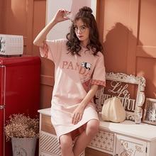 2019 Women Cotton Night Gown Casual Short Sleeve Summer Loose Nightdress Cute Letter Sleepwear Sweet Nightgown Soft Home Dress недорого